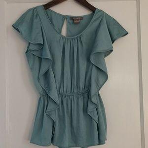 Kenar ruffle cap sleeve blouse